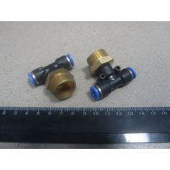 Соединитель аварийный тройник метал. ( наружн. резьба ) M22*1.5 d-8х8 трубки ПВХ