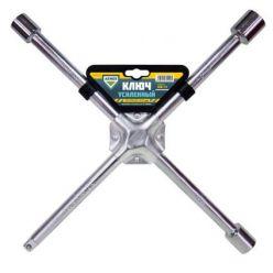 Ключ крест усиленный, с центр. пластиной, хром 17X19X21X1/2 мм.  ARMER