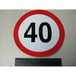 BH. Табличка лимит скорости 40 км/ч