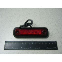 BH. Лампа габаритная LED на резине прямоугольная, 12/24 V красная